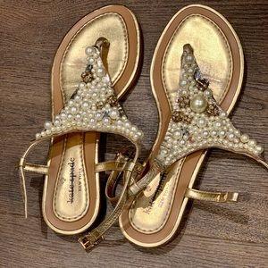 Kate Spade Gold Pearl Sandals Sz 6.5